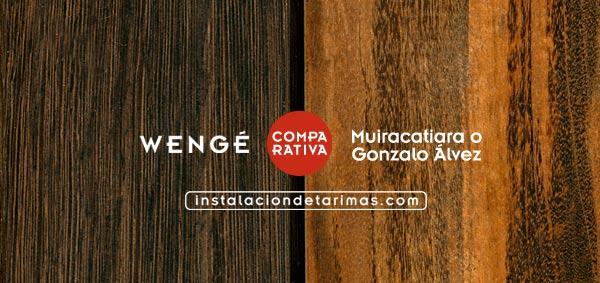 Foto comparativa entre Muiracatiara versus Wengé con texto identificativo