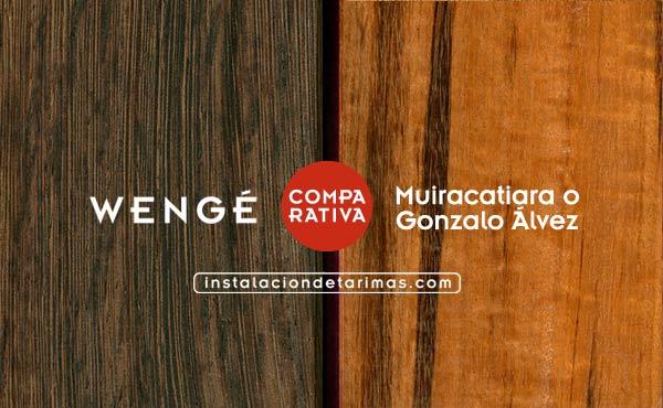 Foto comparativa muiracatiara versus wengé con el texto identificando cada madera