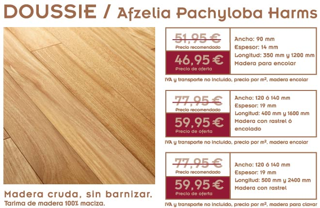 gráfico con foto de la oferta de tarima de doussie y foto del suelo de madera