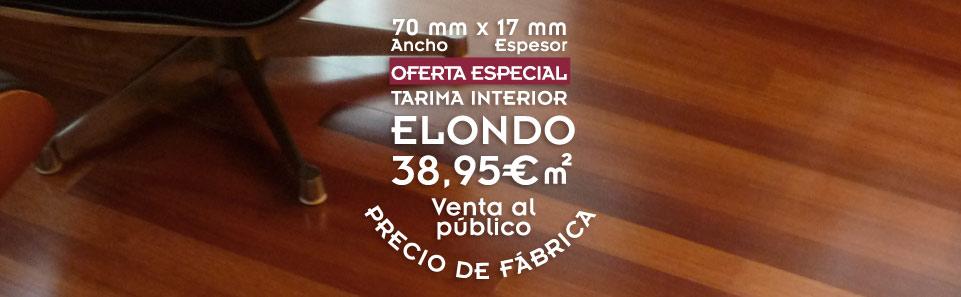 foto de suelo de madera con el texto de oferta de tarima de elondo, con precio