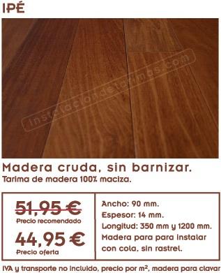 gráfico de la oferta de tarima de ipe con sus medidas y foto de la madera