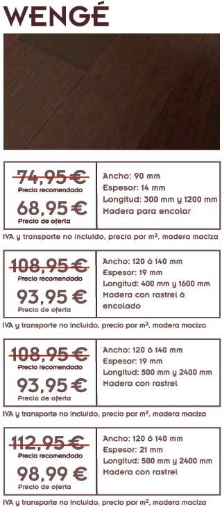 gráfico con foto de madera de wengé y texto con la oferta de tarima de wengé y precios