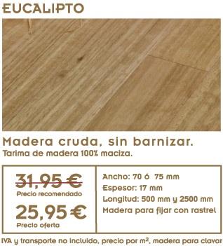 gráfico con foto de suelo de madera de eucalipto con texto de oferta de tarima de eucalipto y precios