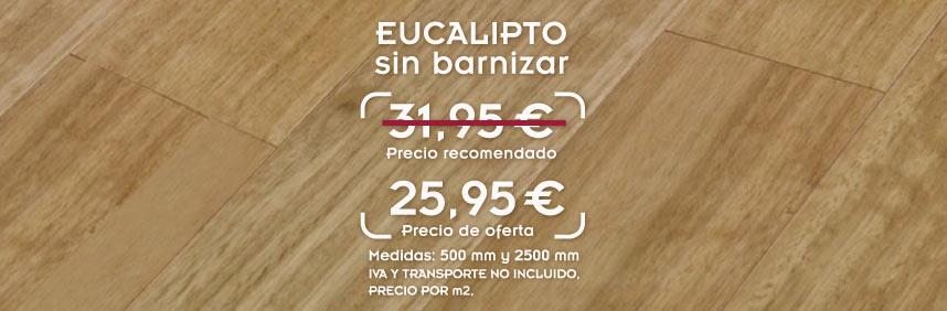 foto de suelo de madera maciza de eucalipto con el texto oferta de tarima de eucalipto