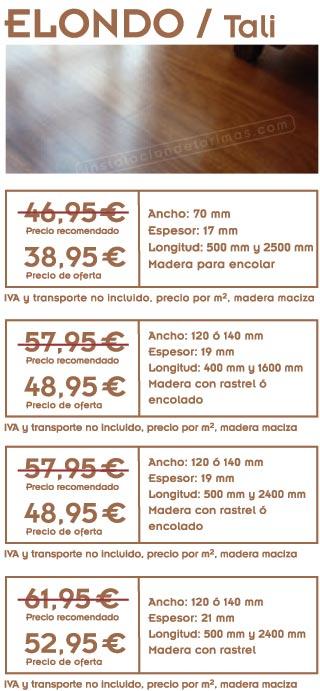 foto de elondo y gráficos con los precios de la oferta de tarima de elondo