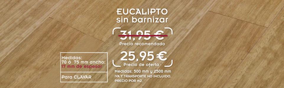 foto de suelo de madera de tarima de eucalipto con el texto oferta de tarima de eucalipto