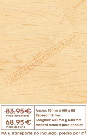 oferta de tarima de arce con precio y foto del suelo de arce