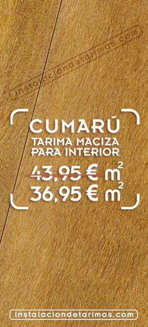 foto de suelo de madera con el texto oferta de tarima de cumarú
