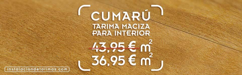 foto de suelo de madera de cumarú con el texto oferta de tarima de cumarú y precio