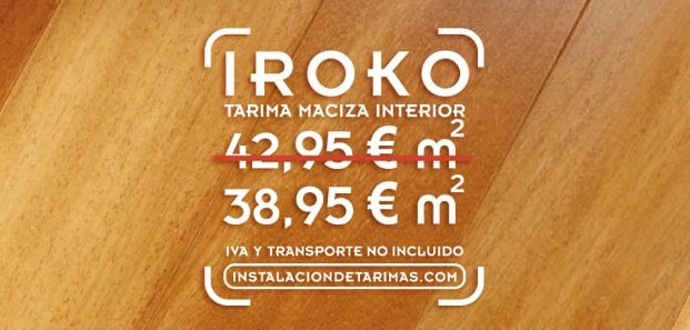 Oferta de tarima de iroko de madera maciza de interior desde 38,95