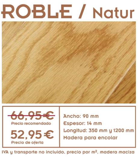 foto de suelo de roble con texto y precios de la oferta de tariam de roble