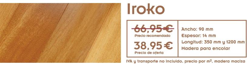 foto de suelo de madera con texto con precio de la oferta de tarima de iroko