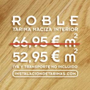 foto de suelo de madera con texto y precios de oferta de tarima de roble
