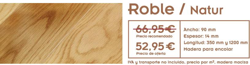 foto de suelo de madera con el texto con precio de la oferta de tarima de roble