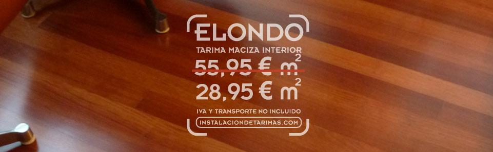 Foto de suelo de elondo de tarima maciza con el texto con precios de la oferta de elondo