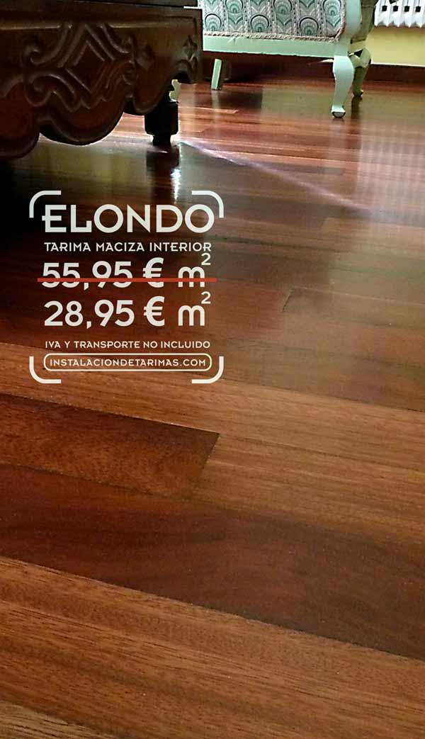 foto de suelo de madera con el texto con precio de la oferta de elondo