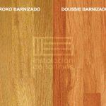 comparativa entre el color de la tarima de doussie y la de iroko