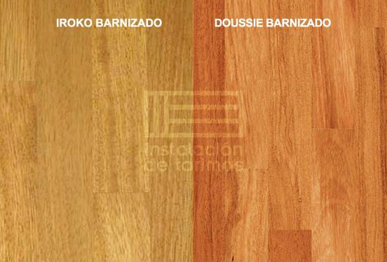 foto comparativa de color entre el doussie y el iroko