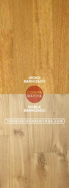 Foto de tarima de roble e iroko comparando del color del roble y el iroko