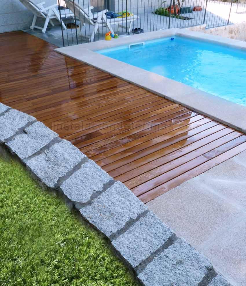 Foto de la Oferta de tarima exterior de grapia con cetol w711 para piscinas