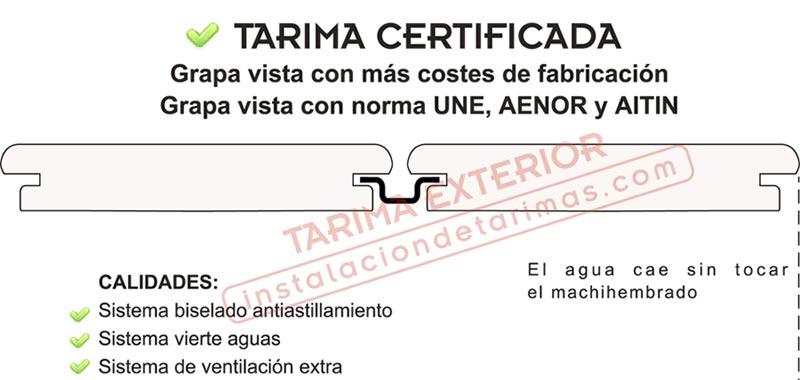 tarima de exterior con grapa vista certificada