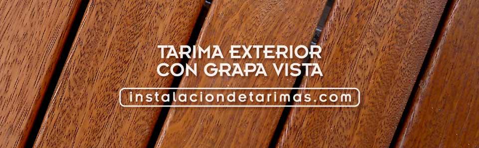 foto de primer plano de tarima exterior con grapa vista del suelo de madera de elondo