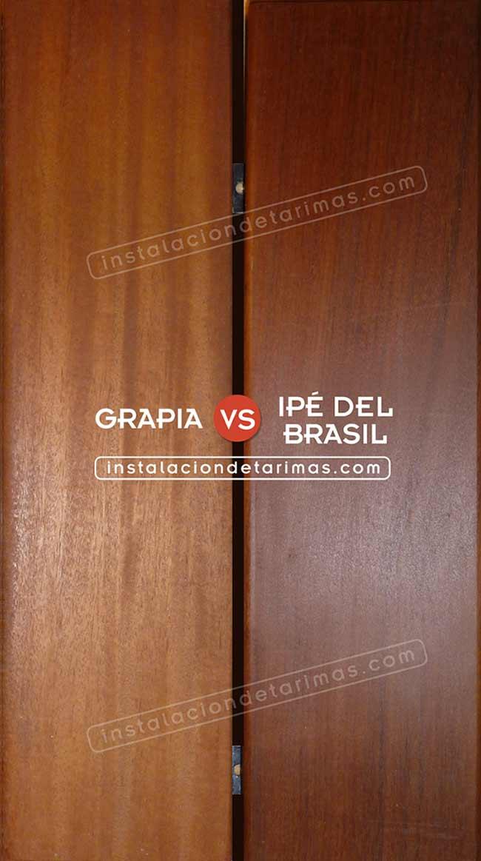 foto comparativa de tarima de grapia e ipé del brasil con texto identificando las maderas