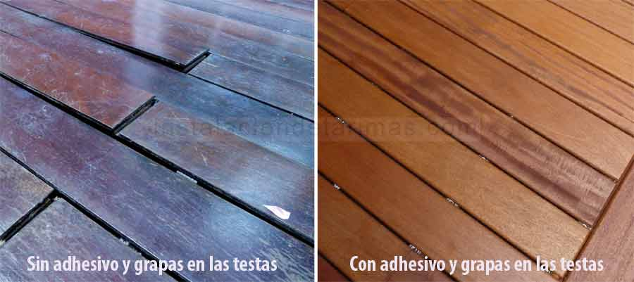 Foto comparativa de instalaciones de tarima exterior donde se indica con texto las diferencias entre encolar y colocar grapa o no