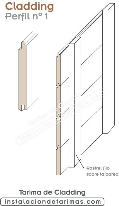 perfil número uno para tarima de cladding para fachadas