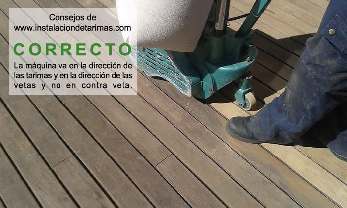 movimiento y dirección adecuada al lijar la tarima exterior