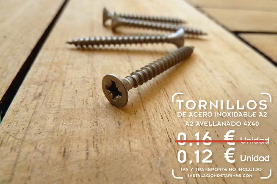 tornillos de acero inoxidable para madera con texto con precio