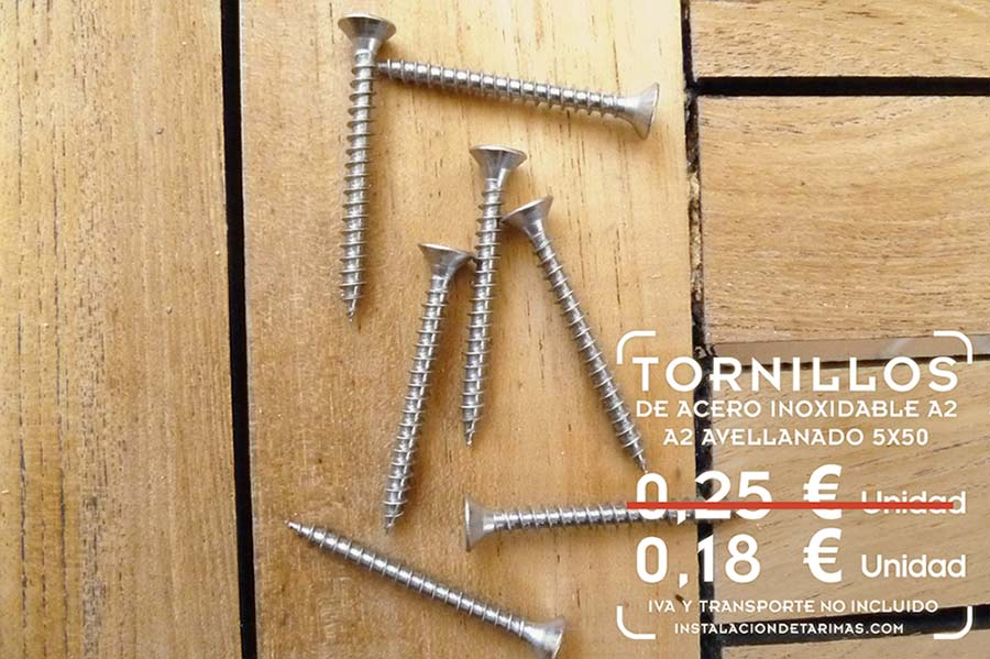 foto de tornillos de acero inoxidable para madera de las medidas de 5x50 con texto con precio