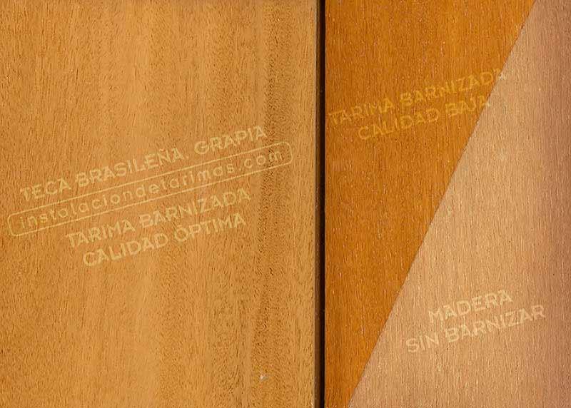 tarima de grapia barnizada con comparativa de calidades