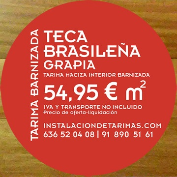 foto con tarima de fondo y una etiqueta roja con el texto: oferta de tarima barnizada de teca y precio