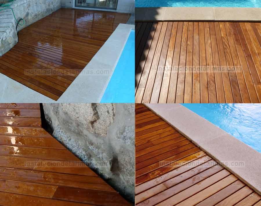 fotos de tarima de grapia en una piscina