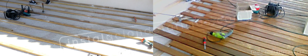 fotos de la instalación de tarima exterior de Elondo en cartagena