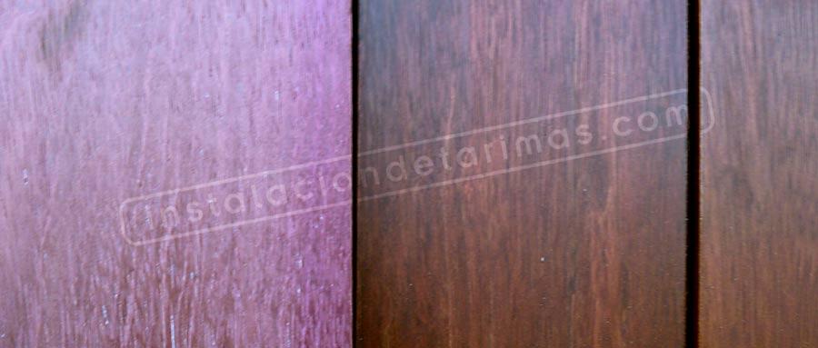 ejemplo de aplicación lasur o aceite para tarima de exterior en la madera de palo rosa