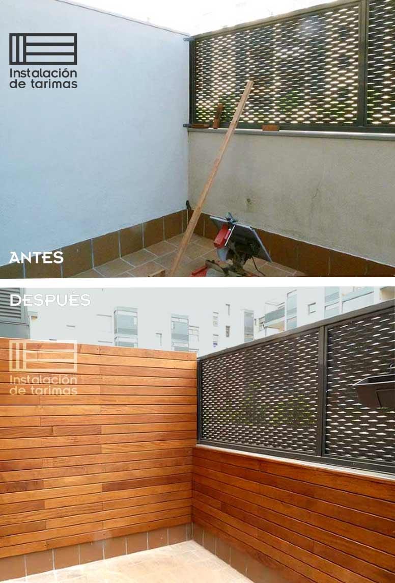 Foto comparativa de un cerramiento de cemento pintado contra el mismo muro recubierto con tarima de exterior de grapia