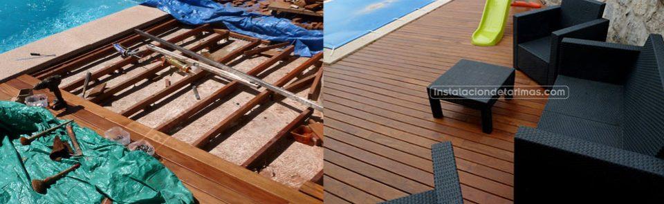 La instalación de los rastreles durante la colocación de la tarima exterior o interior