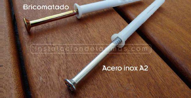 ¿Qué tipo de fijaciones empleamos para sujetar el rastrel, tacos con clavos de acero inoxidable o bicromatados?