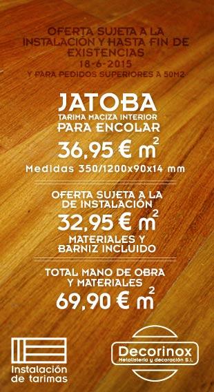 Foto que muestra el resultado de la instalación de tarima de jatoba. Oferta de instalación de tarima maciza de jatoba
